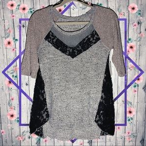 Free People Mix It Up Hacci in Grey Heather